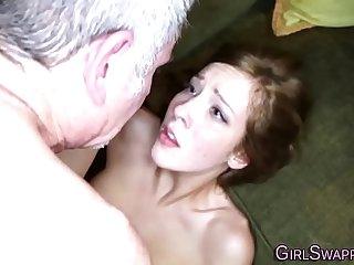 Teen fucks old stepdad