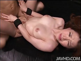 China Mimura is bound and toyed while blindfolded before having her furry muff p