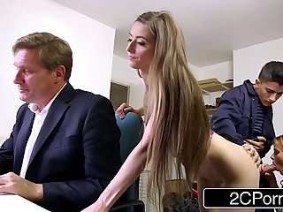 Sneaky Skinny Bastard Fucks Boss's Wife and Daughter - Tarra White, Leyla Morgan