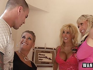 3 Horny Housewives Gangbang 1 Lucky Guy!